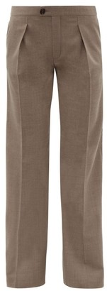 Chloé Pleated-front Wool-blend Twill Tailored Trousers - Womens - Grey