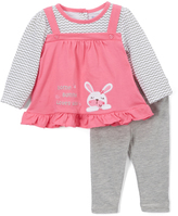 Buster Brown Azalea Pink & Heather 'Loves You' Ruffle Tee & Leggings - Infant