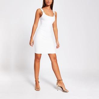River Island Womens Cream buckle strap bodycon mini dress