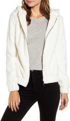 Andrew Marc Hooded Faux Fur Bubble Jacket