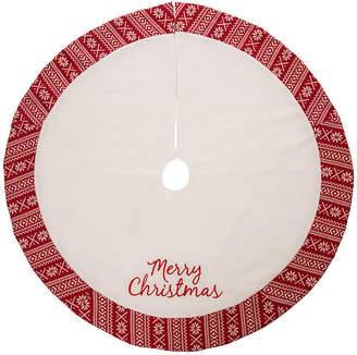 GLITZHOME Glitzhome White Fleece Merry Christmas Tree Skirt