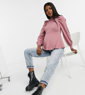 ASOS DESIGN Maternity frill neck sweater with shirred body in pink