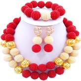 laanc 2 Rows Multicolor Beads Plastic Imitation pearl and Gold Plated Ball African Wedding Jewellery Sets