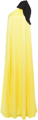 Andrew Gn One-shoulder Bow-embellished Silk-satin Gown