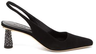BY FAR Diana Suede Slingback Mules - Womens - Black