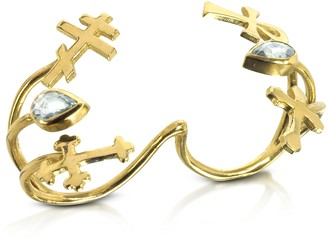 Bernard Delettrez Gold with Green Sapphires Double Ring with Crosses