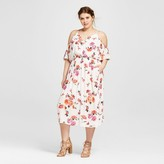 Xhilaration Women's Plus Size Cold Shoulder Ruffle Maxi Dress Floral Print White