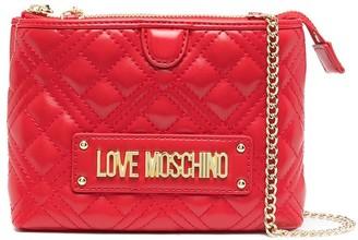 Love Moschino Logo-Print Zip-Up Crossbody Bag