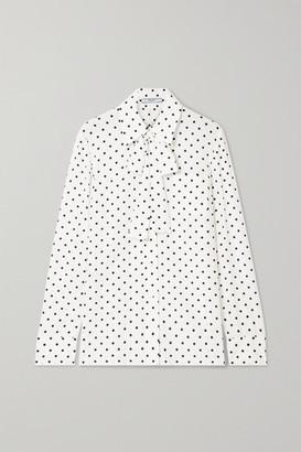 Prada Pussy-bow Polka-dot Silk Crepe De Chine Blouse - Ivory
