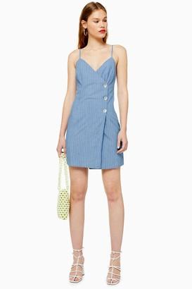 Topshop Womens Blue Stripe Wrap Dress - Mid Stone