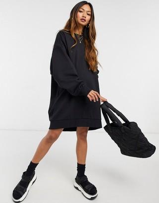 Weekday Liza mini sweat dress in black