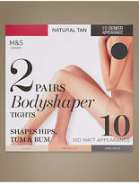 M&S Collection 2 Pair Pack 10 Denier Matt Body Shaper Tights