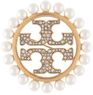 Tory Burch Miller pave pearl brooch