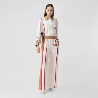 Burberry Archive Scarf Print Silk Wide-leg Trousers