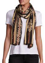 Etro Striped Floral Silk-Blend Scarf