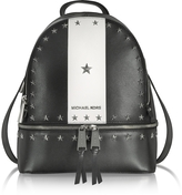 Michael Kors Rhea Zip Medium Black and White Leather Backpack w/Stars