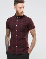 Asos Skinny Shirt In Burgundy Check With Short Sleeves