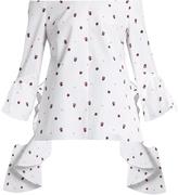 Ellery Delores off-the-shoulder fil coupé cotton top
