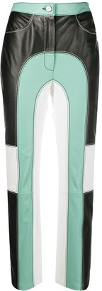 Kirin Colour-Block Panelled Leather Trousers