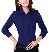 Double Plus Open DPO Women's Chiffon Slim Pleated Office Puff Sleeve Shirt Long Sleeve Blouse