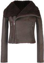 Rick Owens cropped biker jacket - women - Cotton/Lamb Skin/Polyester/Virgin Wool - 42
