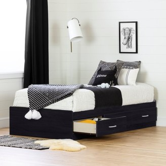 South Shore Cosmos 3-Drawer Storage Bed, Twin Black Onyx