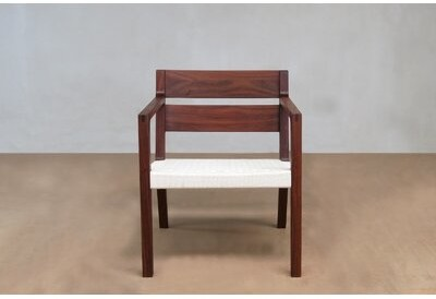 """Thumbnail for your product : Masaya & Co 24"""" Wide Armchair Upholstery Color / Leg Color: White Manila / Rosita Walnut"""