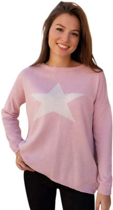 Luella One Size Cashmere Blend Classic One Size Pink Sweater White Star - ONE SIZE - Pink/White