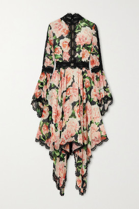 Costarellos Asymmetric Lace-trimmed Floral-print Silk-georgette Dress - Pink