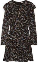 Veronica Beard Parc Ruched Metallic Fil Coupé Silk-blend Chiffon Mini Dress - Black
