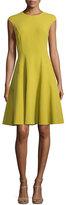 Michael Kors Cap-Sleeve Fit-&-Flare Dress, Peridot