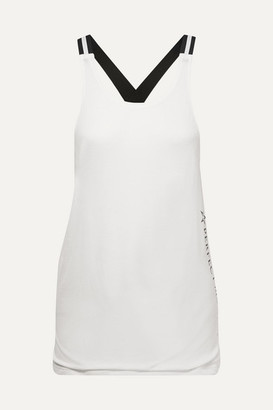 Perfect Moment Layered Jersey And Mesh Tank - White