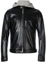 DSQUARED2 hoodie insert leather jacket