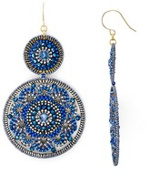 Miguel Ases Beaded Double Circle Drop Earrings