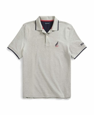 Nautica Men's Short Sleeve American Flag Logo Polo Shirt