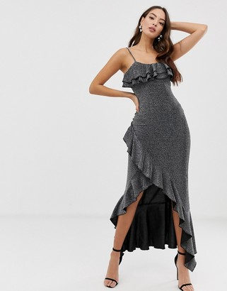 Girl In Mind metallic ruffle maxi dress with wrap skirt-Silver