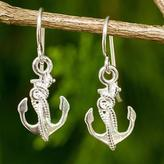 Nautical Theme Handcrafted Silver Anchor Earrings, 'Mariner'
