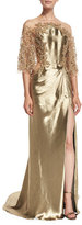 Marchesa Beaded Illusion Flutter-Sleeve Gown, Gold