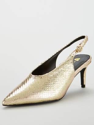 Very Carina Slingback Mid Heel Point Court - Gold
