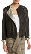Brunello Cucinelli Leather Asymmetric-Zip Jacket w/ Metallic Lining