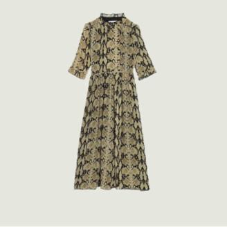 BA&SH Ocher Cascade Print Buttoned Dress - xs