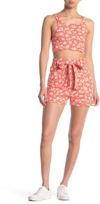 Planet Gold Floral Crop Top & High Waist Shorts 2-Piece Set