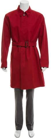 Prada Leather-Trimmed Trench Coat