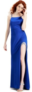 City Studios Embellished High-Slit Stretch Satin Gown, Created for Macy's