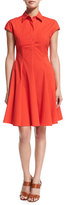 Michael Kors Cap-Sleeve Fit-&-Flare Shirtdress, Coral