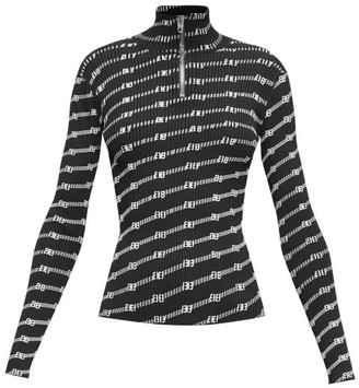 Balenciaga Logo-patterned Quarter-zip Ribbed-knit Top - Black White