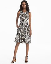 White House Black Market Palm Print Fit-and-Flare Dress