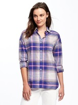 Old Navy Plaid Slub-Weave Boyfriend Shirt for Women