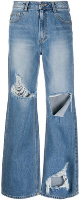 Sjyp Distressed Wide-Leg Jeans
