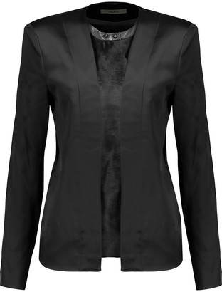 J Brand Greville Calf Hair-paneled Duchesse-satin Jacket